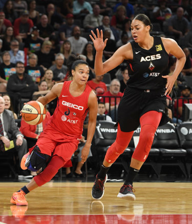 Kristi Toliver drives against Liz Cambage in the Aces' game four loss.