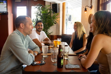 Krishan Lal (second from left) said Forrester's in Surry Hills had a good atmosphere and served reasonably-priced drinks.