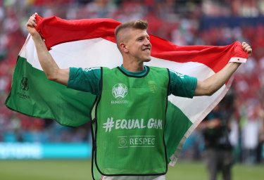 David Siger of Hungary celebrates with a flag following the draw with France.