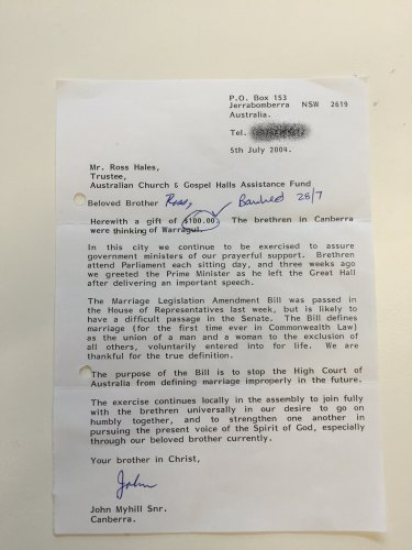 A note from a senior Exclusive Brethren member in 2004 revealing their role in encouraging John Howard to amend the Marriage Act to prevent gay marriage.