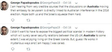 Tweets from an account purportedly belonging to George Papadopoulos, a one-time adviser to the Donald Trump campaign.