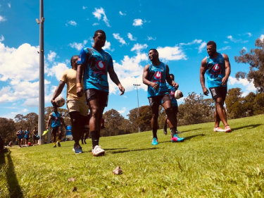 Suliasi Vunivalu (centre) joins his Fijian teammates at training in St Mary's on Thursday ahead of the World Cup 9s.