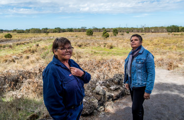 Deborah Cheetham with Gunditjmara elder Eileen Alberts at the Tyrendarra Indigenous Protected area, otherwise known as the Budj Bim fish traps.