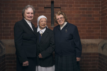 Sister of Charity from left to right, Sister Margaret Fitzgerald, Sister Jacinta Fong and  Sister Genevieve Walsh at the opening of the Heritage Centre.