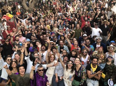 Happy punters: festivalgoers pose for a photo at Golden Plains 2019.