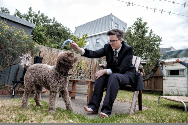 Hannah Gadsby in 2016 with her dog Douglas, who is the namesake of her new stand-up show.
