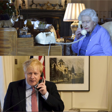 The Queen practices social distancing by holding her weekly audience from Windsor Castle with British Prime Minister Boris Johnson at Number 10, Downing Street over the phone on Wednesday, March 25, 2020.