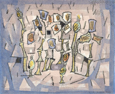 Ludwig Hirschfeld-Mack,Composition, 1960,monotypes and watercolour. National Gallery of Victoria.