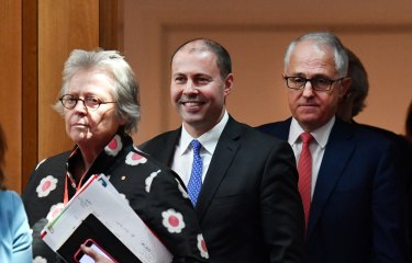Kerrie Schott, Josh Frydenberg and Malcolm Turnbull at the release of the federal government's National Energy Guarantee.