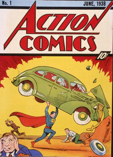 Cover illustration of the comic book Action Comics No. 1 featuring the first appearance of the character Superman in June 1938.