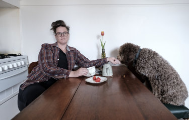 Hannah Gadsby with dog Douglas in Melbourne in 2016, before moving to their new home in the country.