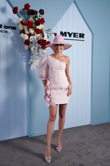 Drama in the sleeve ... Rachael Finch on Oaks Day.