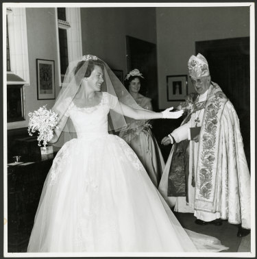 "Diana ""Bubbles"" Fisher, currently missing from the royal wedding debate, pictured on her own wedding day."