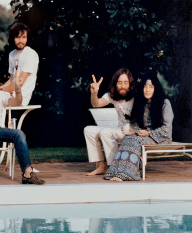 Klaus Voorman and John and Yoko poolside, the morning after the Toronto concert; September 14, 1969.