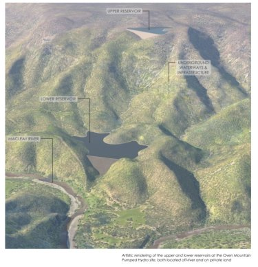A graphic impression of the planned Oven Mountain pumped hydro project, midway between Kempsey and Armidale in northern NSW.