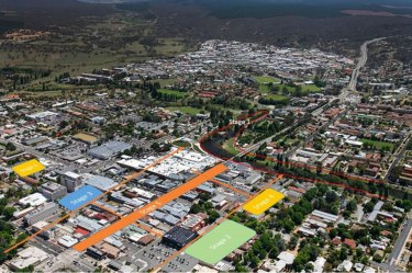 An aerial view of Queanbeyan's central business district, showing the blocks the local council has in mind to transform over the next five years.