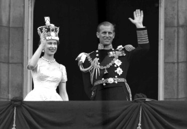 """We like to think we're casting a bit of a cynical eye over what's going on,"" says Australian royal expert Giselle Bastin, of Australia's long-held view of the royals, including  the late Prince Philip, Duke of Edinburgh, pictured with the Queen at Buckingham Palace, following her coronation in 1953."