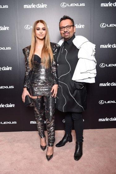 Lianna Perdis and her father Napoleon Perdis at the Prix de Marie Claire awards.