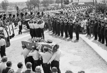 The funeral for policemen killed in a shooting at Toongabbie, Sydney, 5 October 1971.