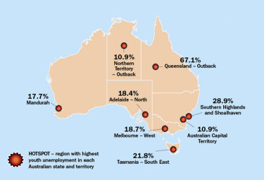 Young Australia Map.Stark Data How Postcodes Are Shaping The Destiny Of Young Australians