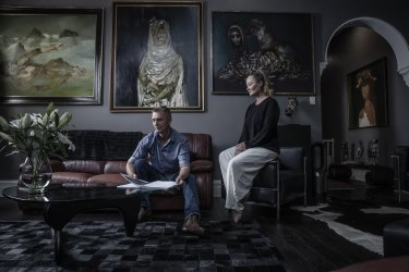 Andrew Turley and Rachael Ash with works by Sidney Nolan, including Gorilla, far left.