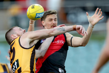 Happy times: Joe Daniher gets physical in his comeback game.