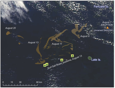 The path of the pumice through the region following the eruption.