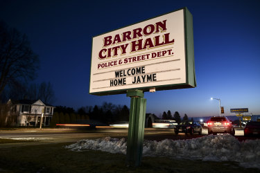 The sign outside Barron City Hall.