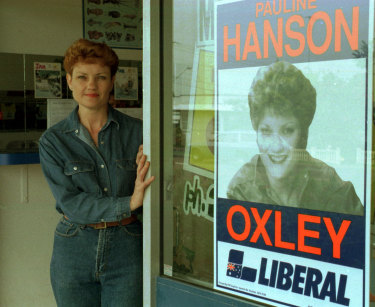 Pauline Hanson pictured in 1996, with her Liberal Party election corflute.