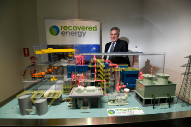 Ian Guss from Recovered Energy Australia with a model of the gasification waste to energy plant proposed for Laverton North.