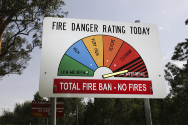 A catastrophic fire danger rating sign at Maroota, a suburb to the north-west of Sydney.