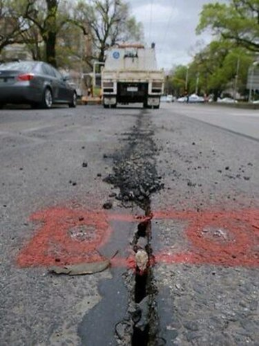 The crack that opened up in front of the cancer centre in 2012 during Grocon's construction work. The road was shut for four months.