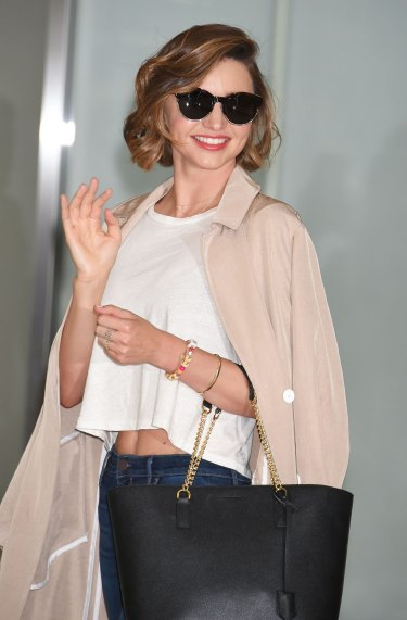 Miranda Kerr is seen upon arrival at Narita International Airport in June last year.