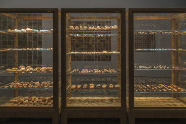 Objects are placed within specially constructed vitrines for Simryn Gill's Domino Theory, 2014.