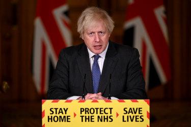 Prime Minister Boris Johnson during the Friday evening press conference in Downing Street.