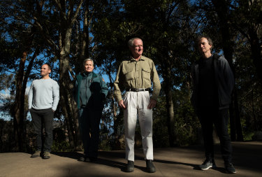 Berin Mackenzie (left) was part of the team behind the successful saving of the rare Wollemi pine trees in the Wollemi National Park during the 2019-20 bushfires. Some of the others include Lisa Menke (second from left), Steve Clarke, and Tony Auld (right).