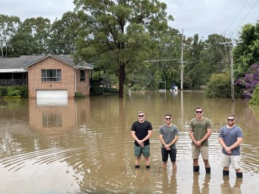 James Farrawell, (left) has been cut off from his wedding venue by rising floodwaters.