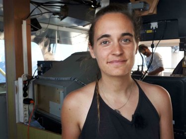 Sea-Watch 3 captain Carola Rackete on board the vessel at sea in the Mediterranean.