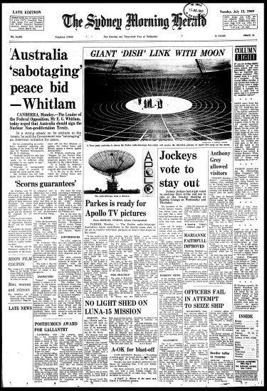 Herald front page from July 15, 1969.