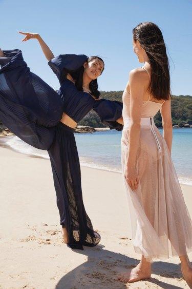 """Ako wears Ellery """"Bachelorette Bubble Sleeve"""" corset, $995. Chanel trousers, $3400. Amber wears Bloch """"Cleo"""" leotard, $50. Maticevski skirt, $1010"""