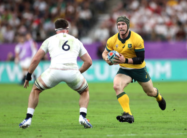 David Pocock in one of his final matches for the Wallabies, when Australia took on England during the Rugby World Cup 2019 in Japan.