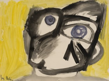 Joy Hester, Face (with Yellow Background) c.1947, brush and ink and gouache on paper.