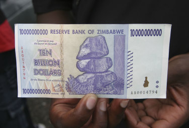 A $Z10,000,000,000 note released at the height of Zimbabwe's rampant inflation.