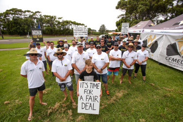 Workers and their supporters outside Port Kembla Coal Terminal.
