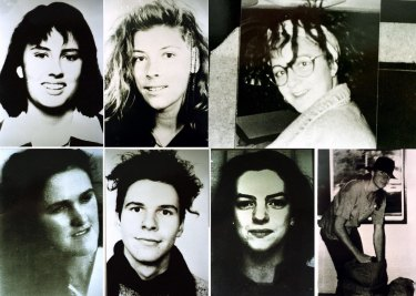 Milat's victims, pictured clockwise from top-left: Deborah Everest of Australia, Anja Habschied of Germany, Simone Schmidl of Germany, James Gibson of Australia, Caroline Clarke of the UK, Gabor Neugebauer of Germany and Joanne Walters of the UK.