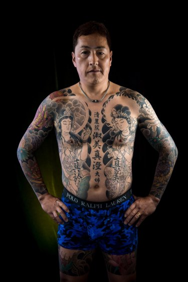 The Age, News 18/11/2016, picture by Justin McManus. Tattoo Convention at the Melbourne Exhibtion centre. People and their favorite tattoo. Kenje Nishimura and his faovrite Japanese tattoos.