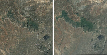 A satellite image of the Humbo region of Ethiopia, showing tree cover in 2005 (left) and in 2017 (right).