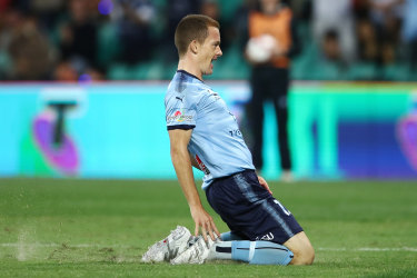 Peaking at the right time: Brandon O'Neill celebrates his goal against Melbourne Victory.