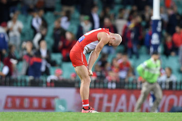 Down but not out: Zak Jones sums up the feeling for the Swans after Thursday night's loss to the Demons.
