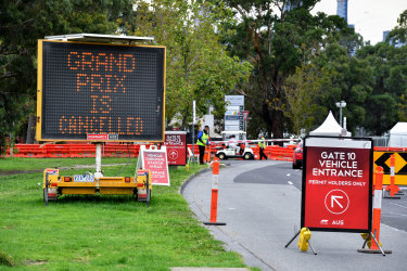 The message that awaited grand prix fans at Albert Park last March.